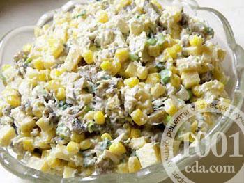 Салат из шпрот с сухариками и кукурузой и