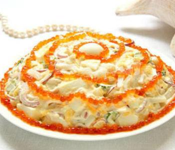 """Салат """"Морская жемчужина"""" с креветками"""