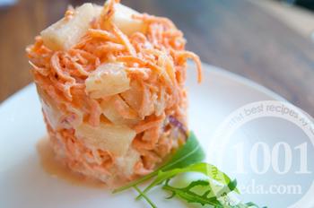 Рецепт салата с морковью и ананасами