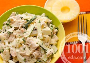 салат с ананасом и колбасой фоторецепт