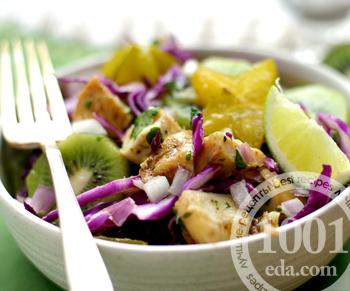 Рецепт салата с ананасами, киви и курицей