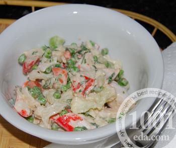 Как приготовить салат из цветной капусты и крабовых палочек