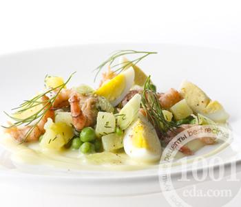 Рецепт салата Оливье с креветками и перепелиными яйцами