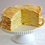 Торт из блинов с миндальным кремом