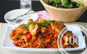 Рис с охотничьей колбаской и овощами – кулинарный рецепт