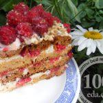 Медовый торт с малиной в мультиварке: рецепт с пошаговым фото