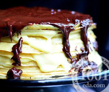 Блинный торт с вкусным кремом и шоколадный ганашем