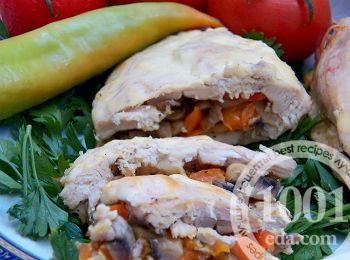 Куриное филе с грибами, перцем и сыром