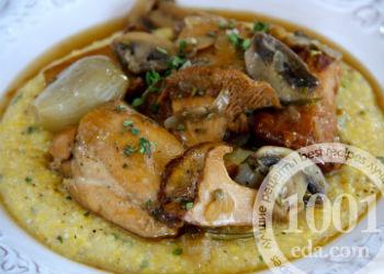 Рецепт поленты с курицей и грибами