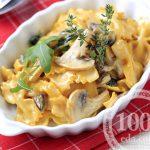 Макароны с грибами, сыром и фаршем