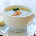 Грибной суп-пюре с креветками