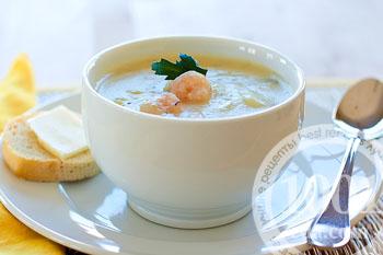 Суп-пюре из грибов и креветок