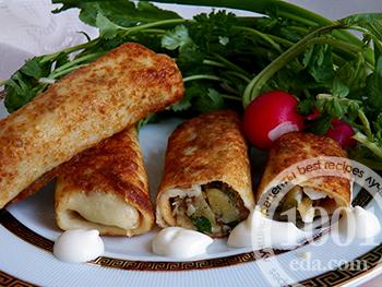 Блинчики с мясом Новогодние: рецепт с пошаговым фото