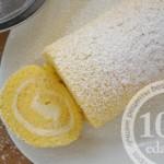 Бисквитный рулет с лимонно-творожной начинкой