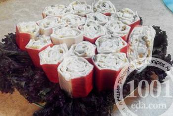 Омлетные рулетики на праздничный стол – кулинарный рецепт
