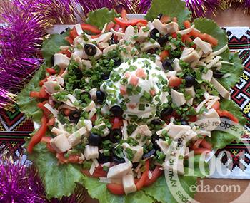 Рецепт праздничного салата из кальмаров