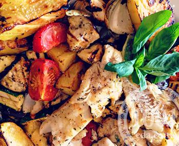 Рецепт стейка из белой рыбы с овощами на гриле