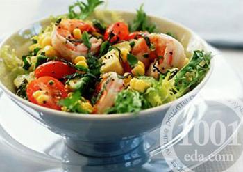 Салат с креветками-гриль и сладкой кукурузой