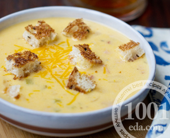 Быстрый сырный суп на пиве