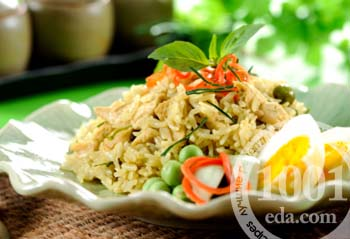 Салат из печени трески, риса и зеленого лука