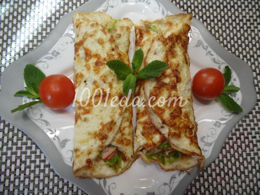 Конвертики из яичных блинчиков с начинкой из кабачка и крабовых палочек: рецепт с пошаговым фото
