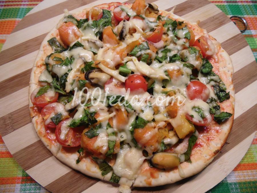 Пицца с тыквой и морепродуктами