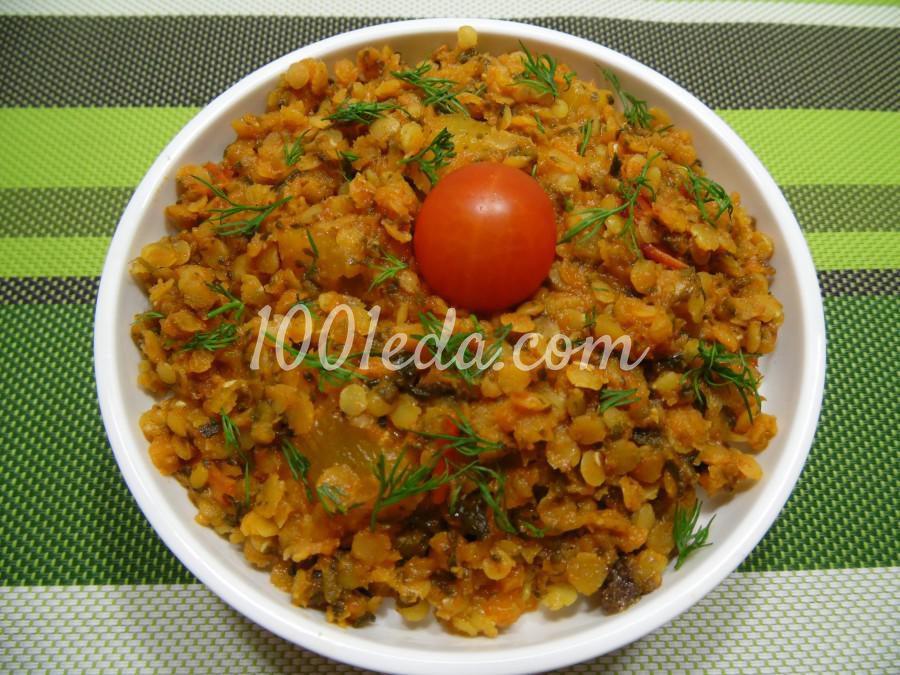 Гарнир из чечевицы с тыквой и шпинатом
