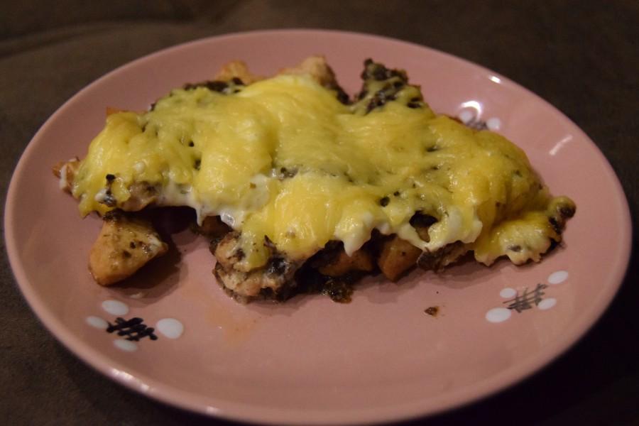 картошка с грибами и куриной грудкой в духовке рецепт