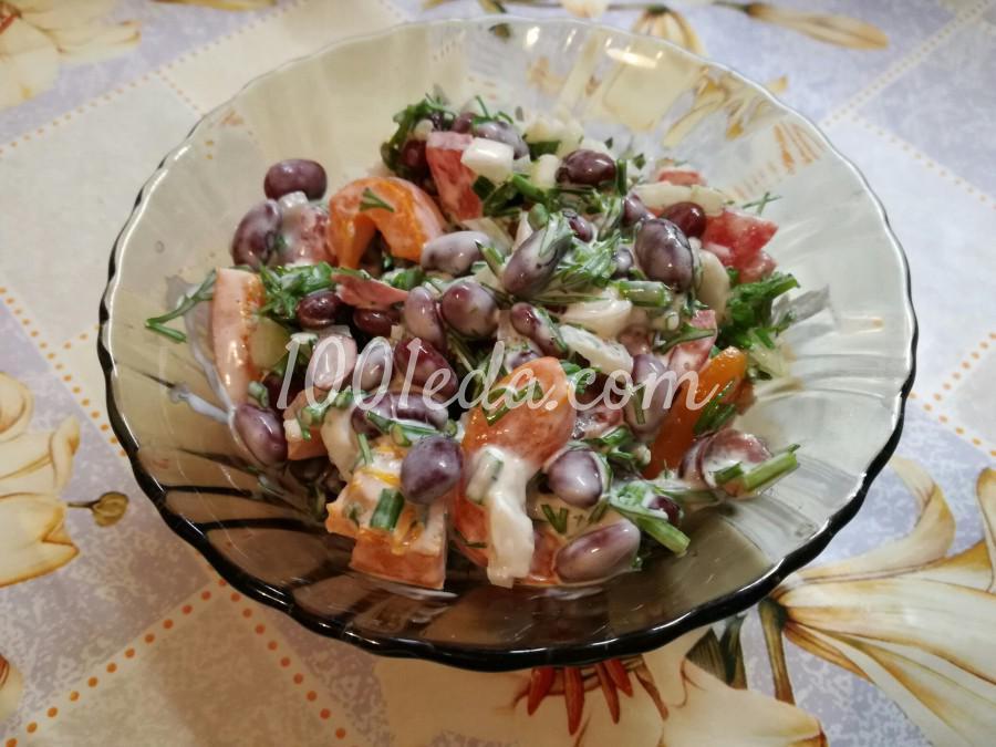 Салат фасолевый с помидорами и зеленью