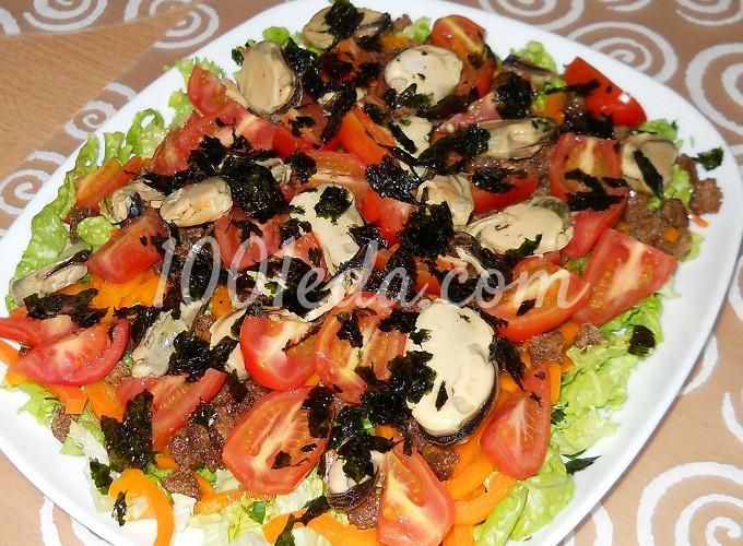 Салат с креветками с кальмарами и мидиями рецепты 129