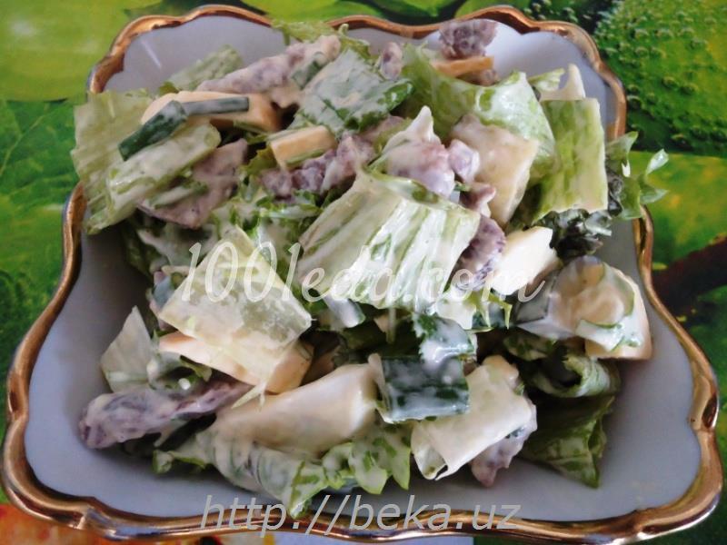 Салат из сыра и мяса