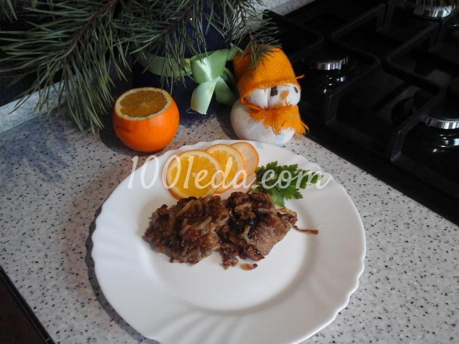 Свиная печень в маринаде из майонеза, апельсинового сока и соевого соуса