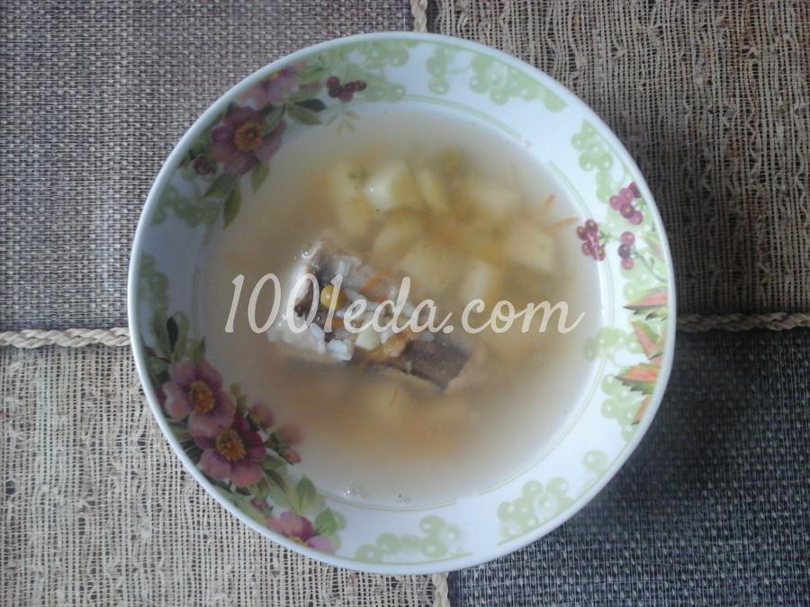 Суп с хеком зеленым горошком и рисом