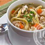 Суп с домашней лапшой, курицей и сельдереем в мультиварке