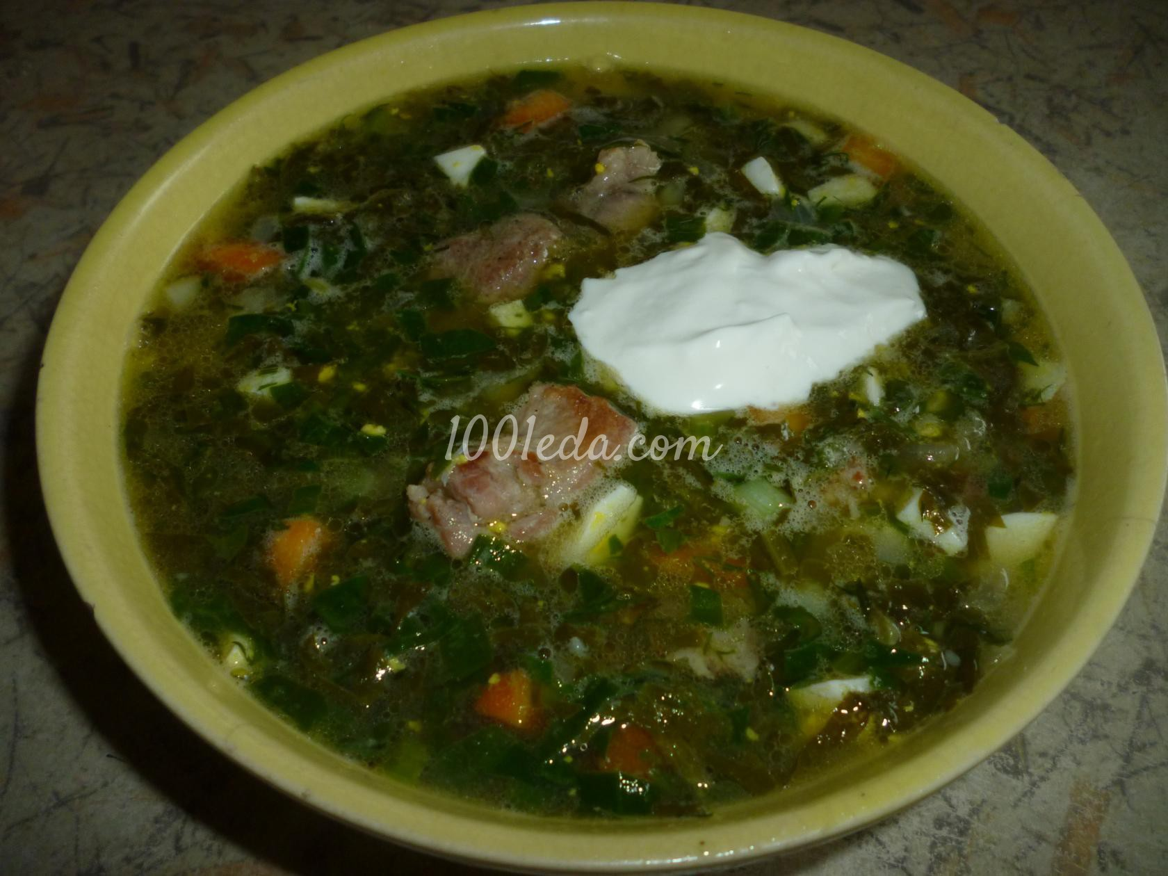 Щавельный борщ со шпинатом и жаренным мясом: рецепт с пошаговым фото