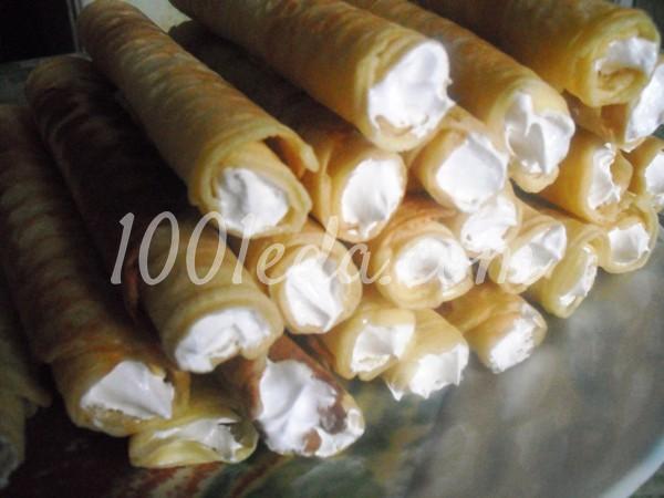 Трубочки вафельные песочные с белковым кремом для маленьких и больших