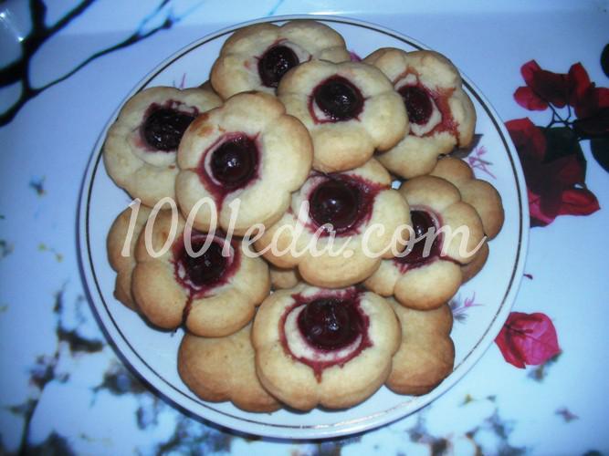 Вкусное печенье Курабье с вишней по-домашнему