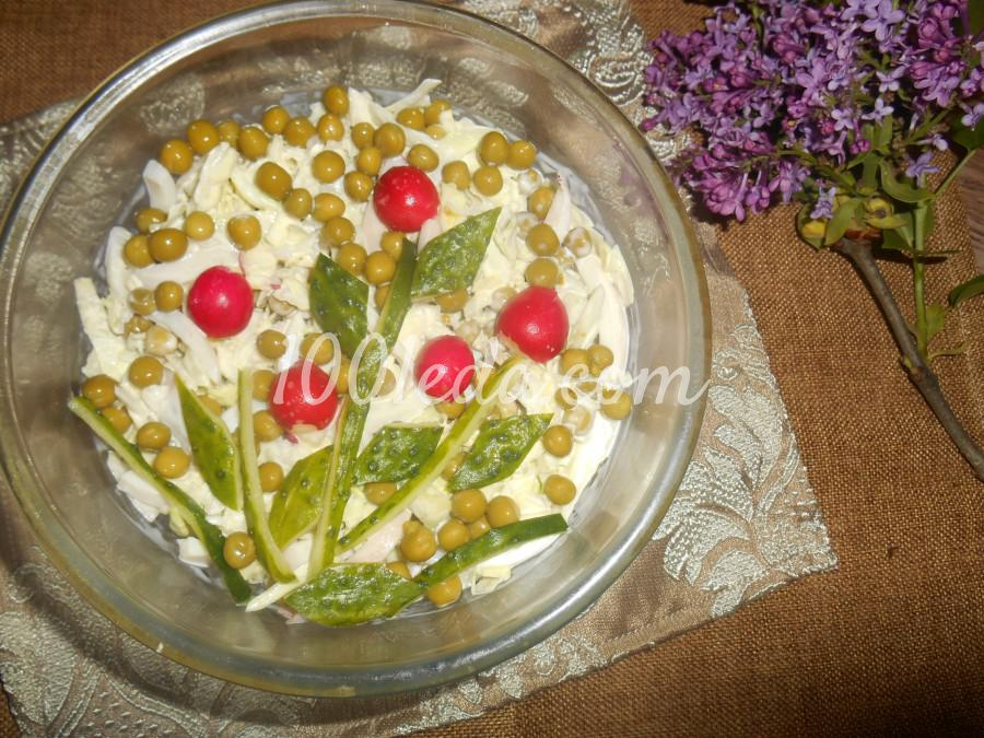 Салат из кальмаров, капусты, свежего огурца и редиса: пошаговое фото