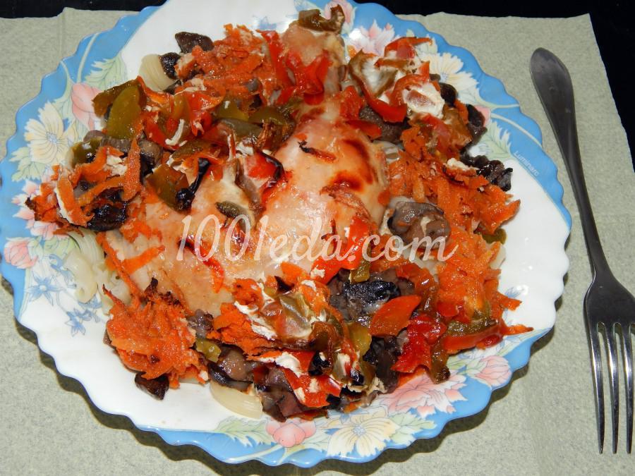 Куриные ножки с грибами и овощами