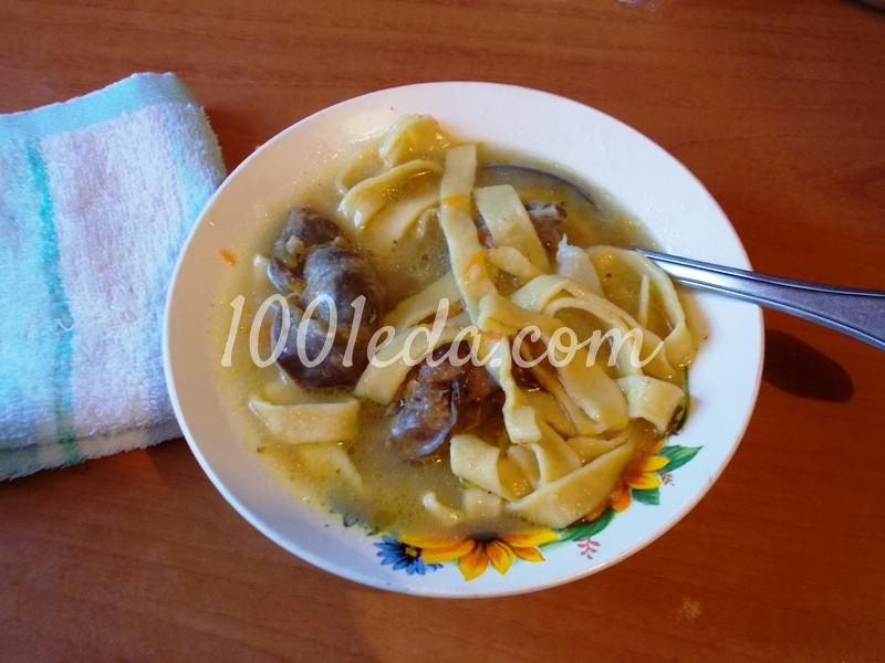 Домашняя толстая лапша с куриными  потрошками: рецепт с пошаговым фото