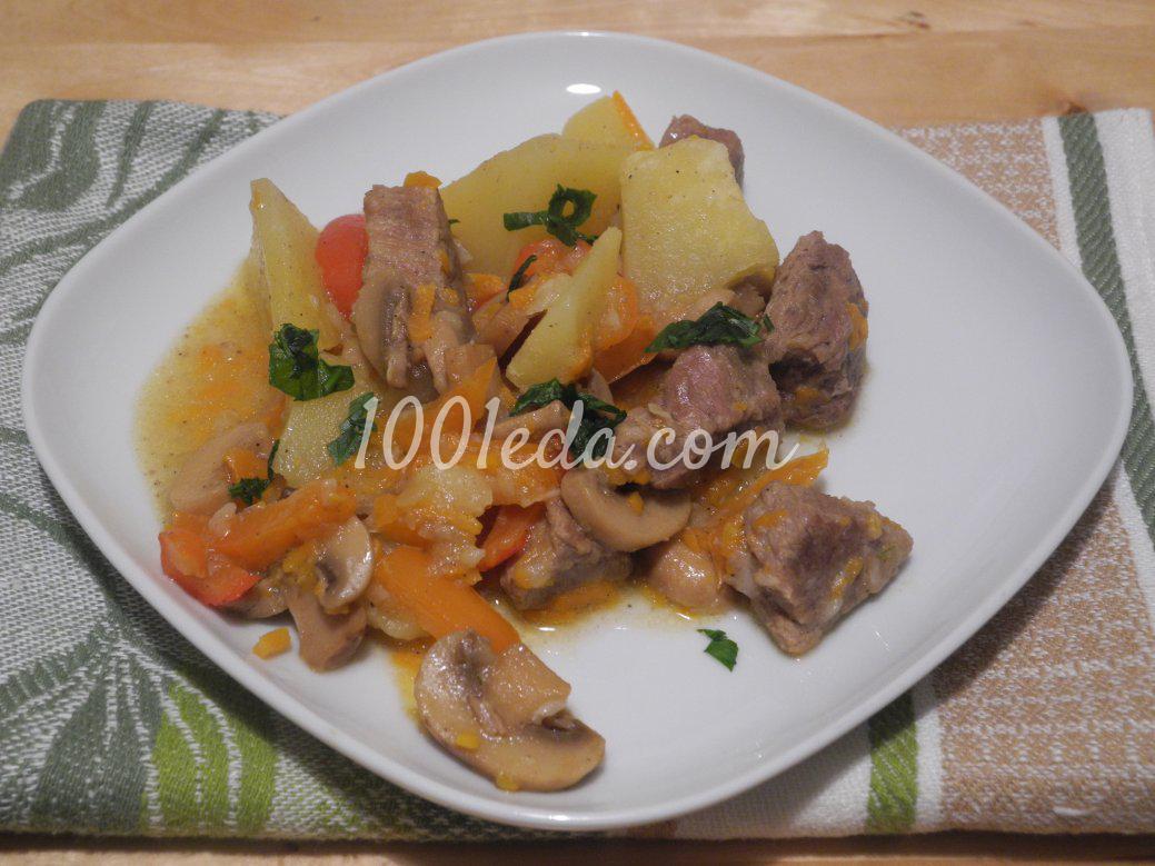 Рецепт говядины с грибами и картошкой в духовке