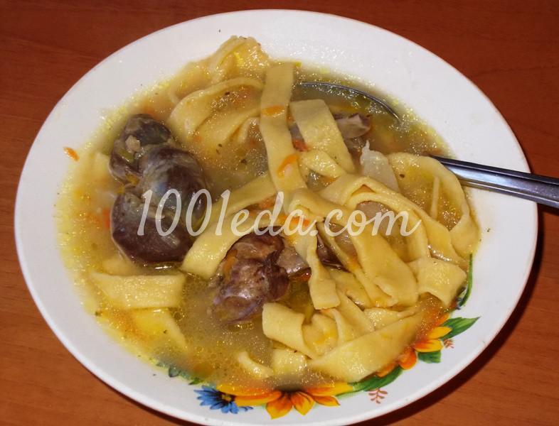 Домашняя толстая лапша с куриными потрошками: рецепт с пошаговым фото - Шаг №12