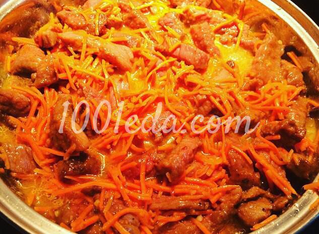 Говядина, томленная в пряном соусе из моркови по-корейски - Шаг №6
