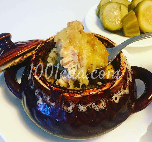 Картофельная бабка с курицей и грибами в глиняном горшочке: рецепт с пошаговым фото