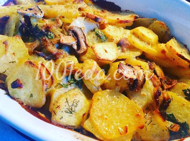 Сливочный картофель, запечённый с грибами: рецепт с пошаговым фото