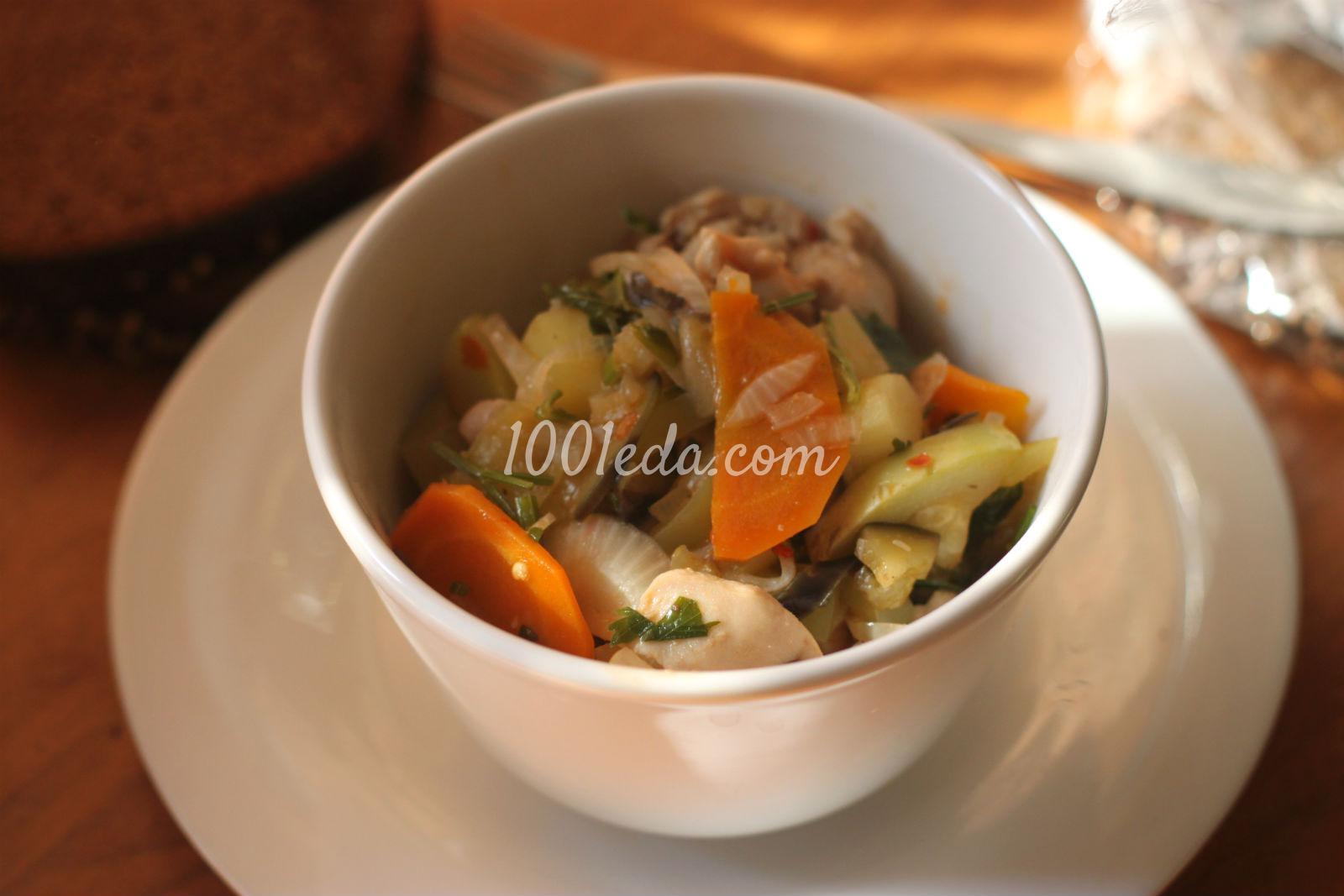 Рецепт рагу из овощей с кабачками с курицей в мультиварке