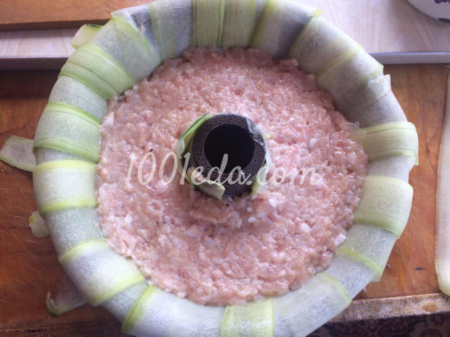 Кабачковое кольцо с фаршем и грибами: пошаговое фото - Шаг №4