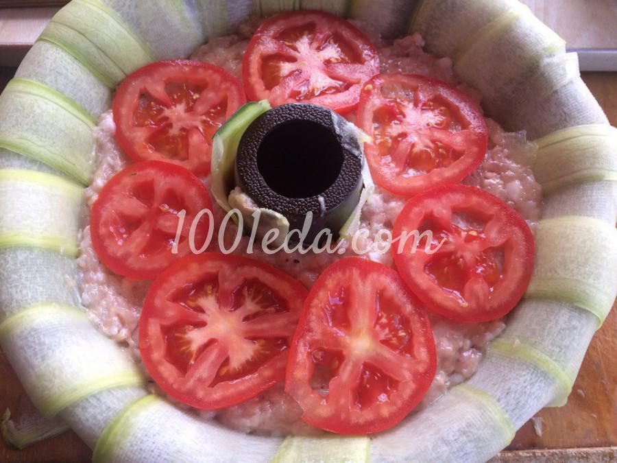 Кабачковое кольцо с фаршем и грибами: пошаговое фото - Шаг №6