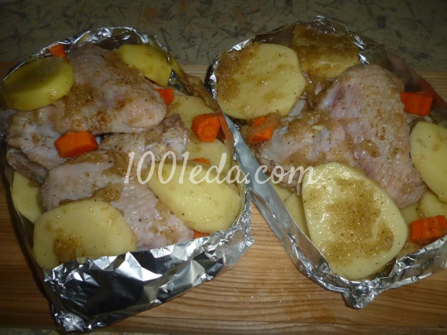 Картошка с куриными крылышками под розовой шубкой в духовке: рецепт с пошаговым фото - Шаг №5