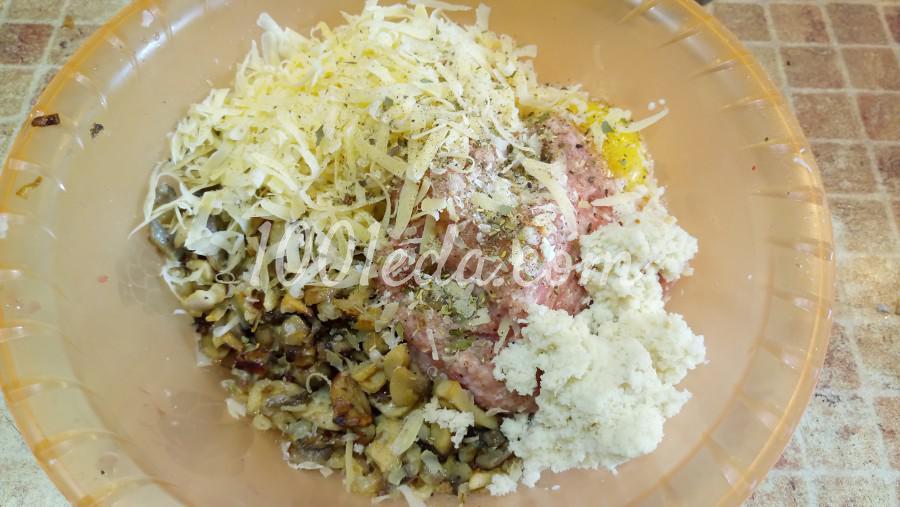Мясной хлеб с шампиньонами и сыром: рецепт с пошаговым фото - Шаг №3